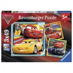 080151 PUZZLE RAVENSBURGER 3X49 AUTA CARS 3